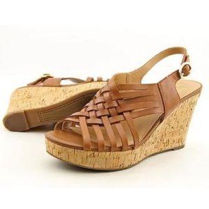"FRANCO SARTO ""Nicola"" Tan wedge sandal size 7-1/2"